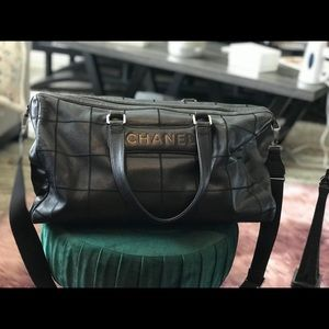 Chanel Duffle Stitched Bar Black Leather